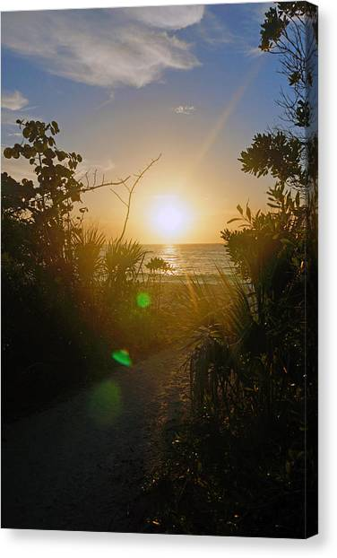 Sunset In Naples At Barefoot Beach Canvas Print