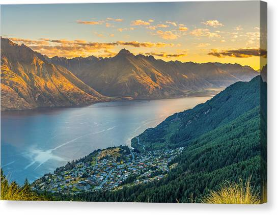 Lake Sunsets Canvas Print - Sunset In New Zealand by James Udall