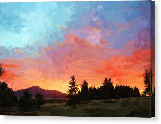 Sunset In Oregon Canvas Print