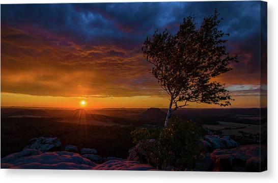 Sunset In Saxonian Switzerland Canvas Print