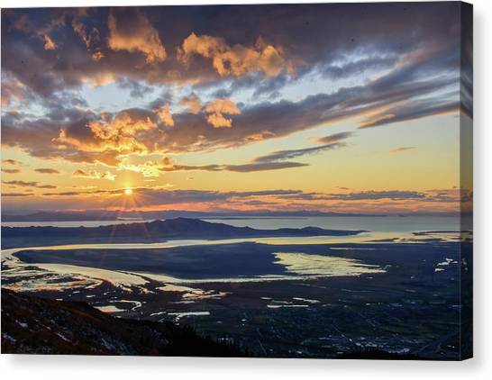Canvas Print featuring the photograph Sunset In The Desert by Bryan Carter
