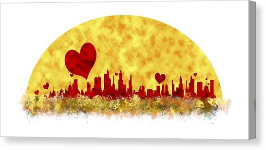 Sunset In The City Of Love Canvas Print