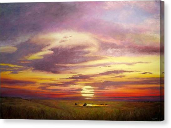 Sunset In The Flint Hills Canvas Print