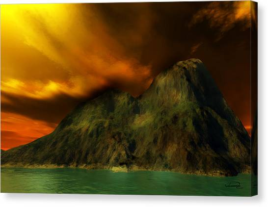 Sunset In The Island Canvas Print by Emma Alvarez