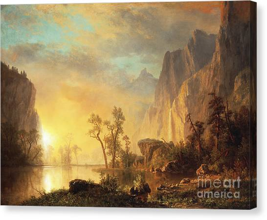 Mountain Ranges Canvas Print - Sunset In The Rockies by Albert Bierstadt