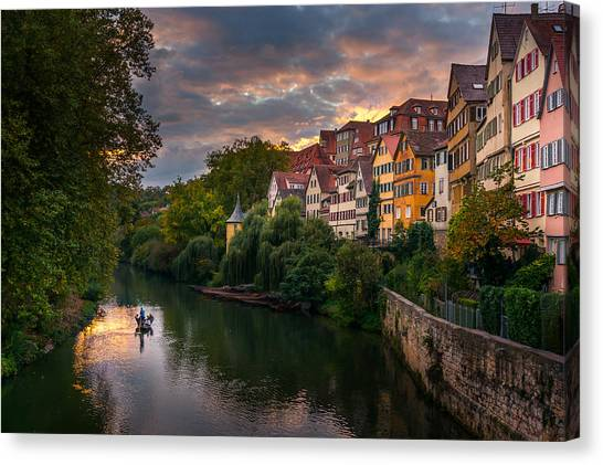 Sunset In Tubingen Canvas Print