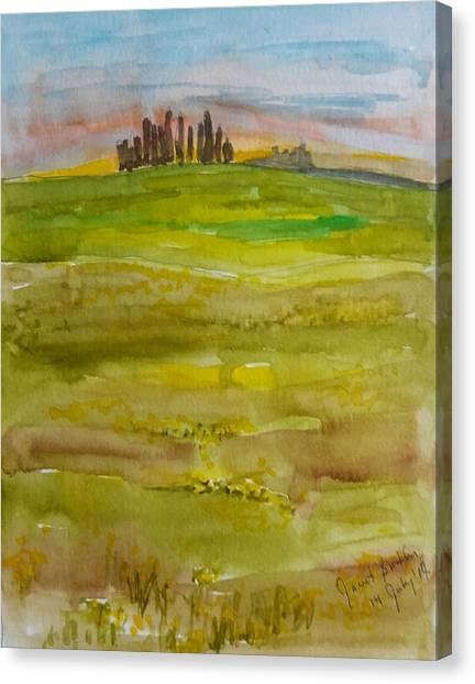 Sunset In Tuscany Canvas Print by Janet Butler