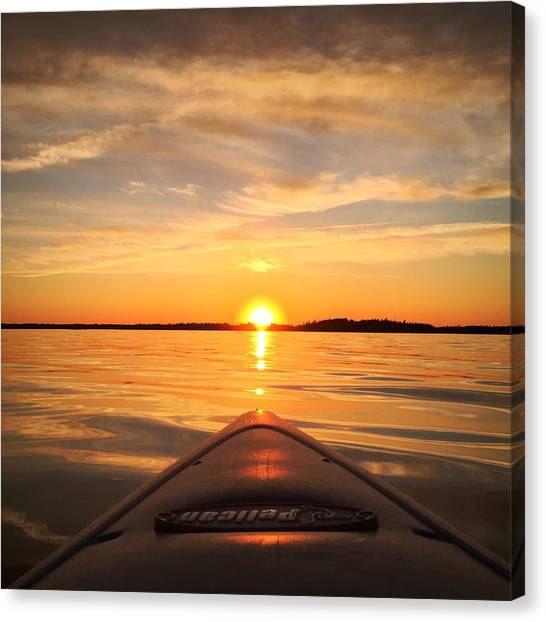 Nova Scotia Canvas Print - Sunset Kayak 2 by Christine Sharp