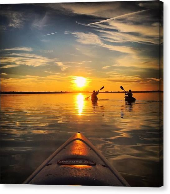 Nova Scotia Canvas Print - Sunset Kayak 3 by Christine Sharp