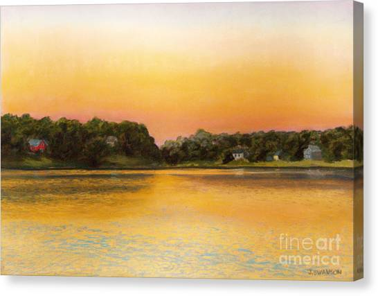 Sunset Lake Canvas Print by Joan Swanson