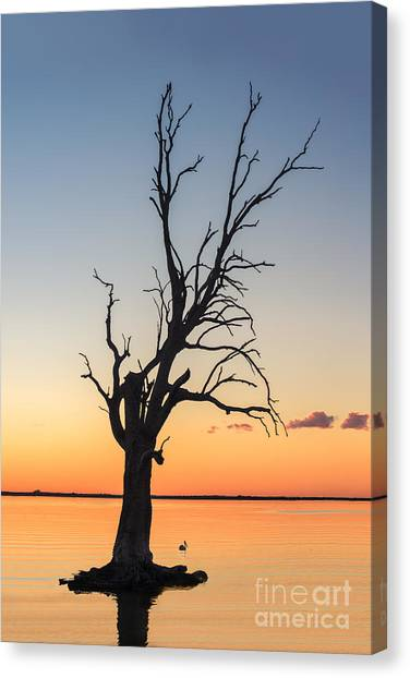 Canvas Print featuring the photograph Sunset Lake by Ray Warren