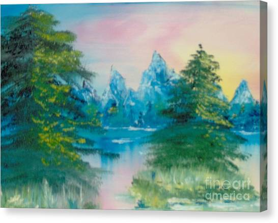 Canvas Print featuring the painting Sunset Lake by Saundra Johnson