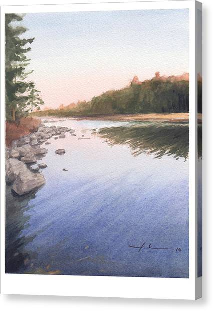 Sunset Lake Watercolor Painting Canvas Print by Mike Theuer
