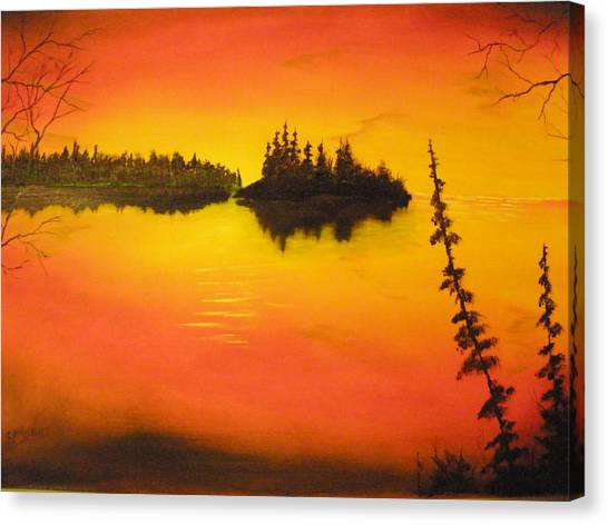 Sunset Lake1 Canvas Print by Ron Sargent
