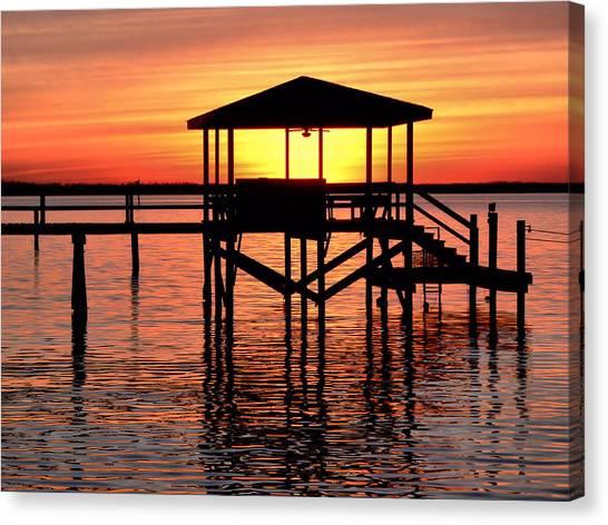 Sunset Lit Pier Canvas Print