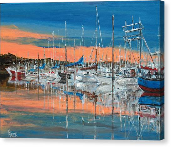 Sunset Marina Canvas Print by Pete Maier