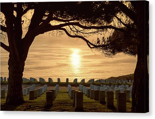 Fort Rosecrans National Cemetery Canvas Print - Sunset Magic by Joseph S Giacalone