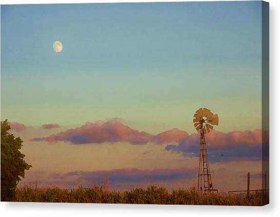 Sunset Moonrise With Windmill  Canvas Print