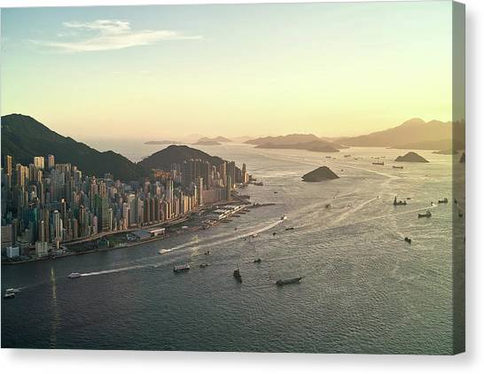 Mountain Sunset Canvas Print - Sunset Of Hong Kong Victoria Harbor by Jimmy LL Tsang