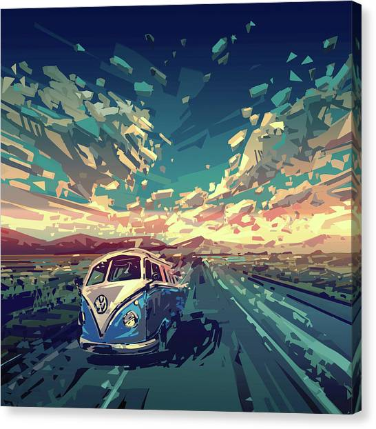 Southwest Canvas Print - Sunset Oh The Road by Bekim M