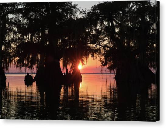 Atchafalaya Basin Canvas Print - Sunset On A Louisiana Cypress Swamp by Bill Swindaman