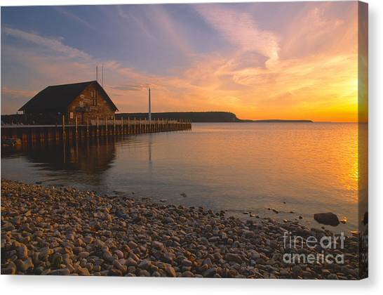 Sunset On Anderson's Dock - Door County Canvas Print