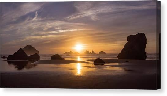 Sunset On Bandon Beach Canvas Print