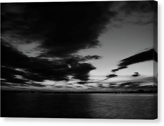 New jersey shore canvas print sunset on barnegat bay in black and white by angie