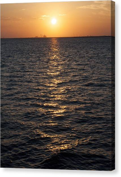Sunset On Bay Canvas Print