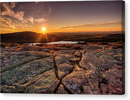 Sunset On Cadillac Mountain Canvas Print