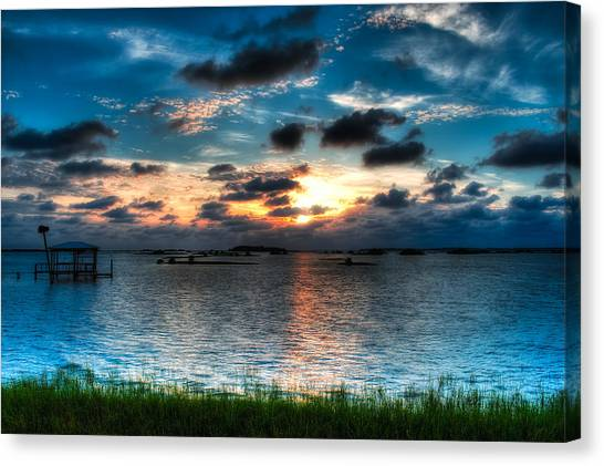Dock Canvas Print - Sunset On Cedar Key by Rich Leighton