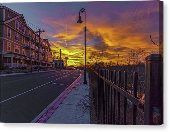 Sunset On Eliot St Milton Ma Canvas Print