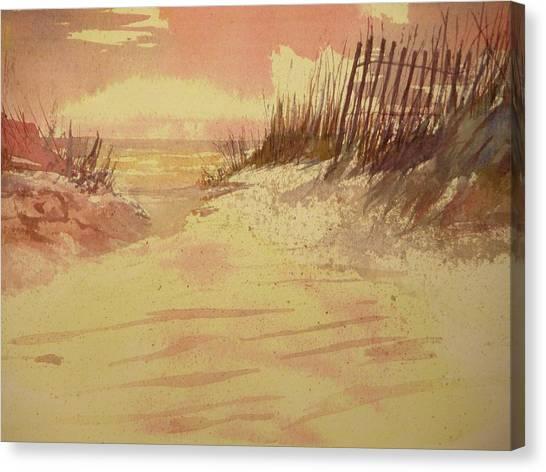 Sunset On  Florida Beach Canvas Print by Walt Maes