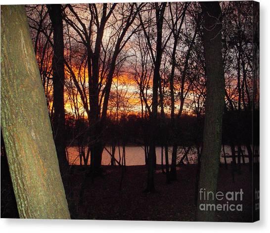 Sunset On Fox River Canvas Print by Deborah Finley