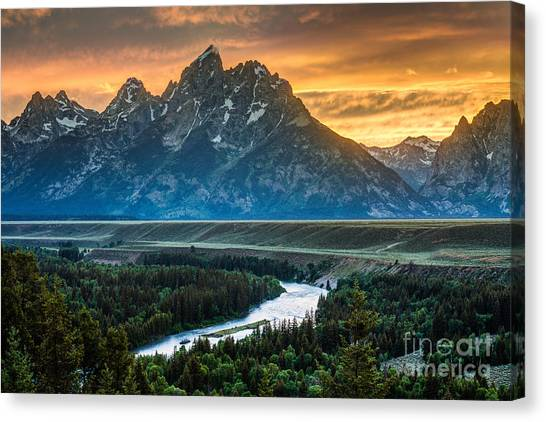 Sunset On Grand Teton And Snake River Canvas Print