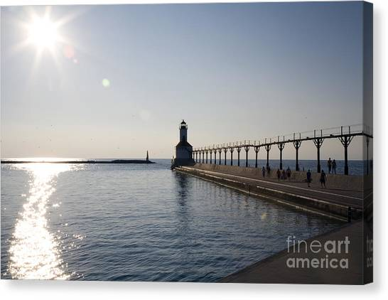 Canvas Print - Sunset On Lake Michigan by Jeannie Burleson