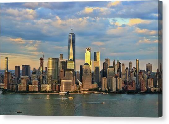 Sunset On Lower Manhattan Canvas Print