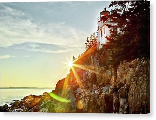 Ocean Sunset On Maine's Bass Harbor Lighthouse Canvas Print