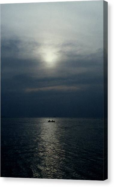 Fishing Boats Canvas Print - Sunset On Mandovi River, Goa by Iqbal Misentropy