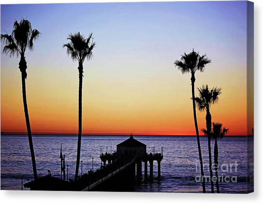Sunset On Manhattan Beach Pier Canvas Print