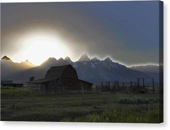 Sunset On Mormon Row  Wy Canvas Print by Vijay Sharon Govender