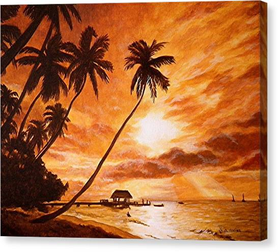 Sunset On Paradise Cove Canvas Print