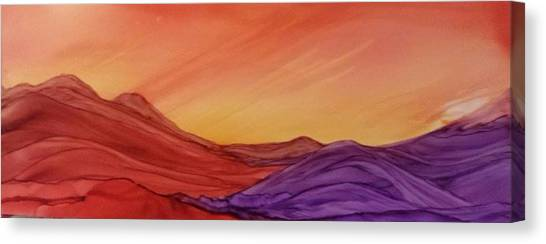 Sunset On Red And Purple Hills Canvas Print