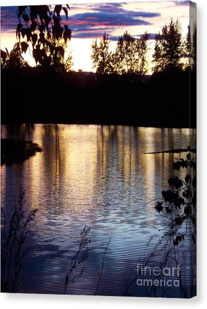 Sunset On River Canvas Print