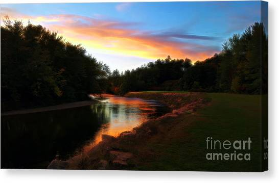 Sunset On Saco River Canvas Print