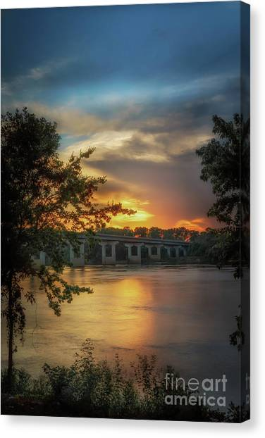 Sunset On The Arkansas Canvas Print