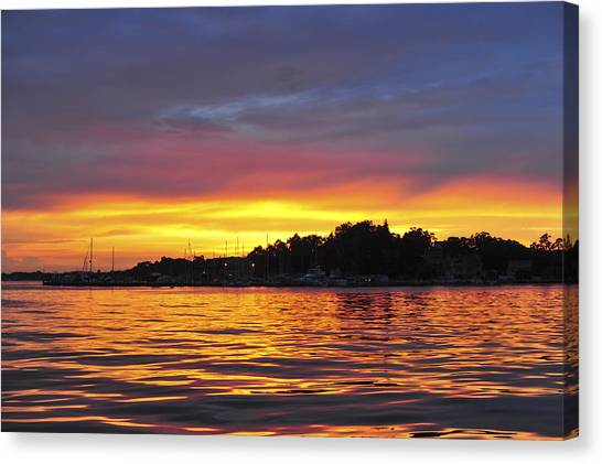 Sunset On The Bay Island Heights Nj Canvas Print