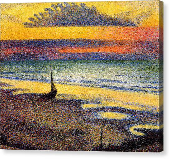Sunset On The Beach 1891 Canvas Print