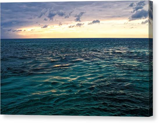 Sunset On The Caribbean Canvas Print