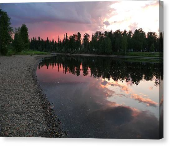 Sunset On The Chena River Canvas Print